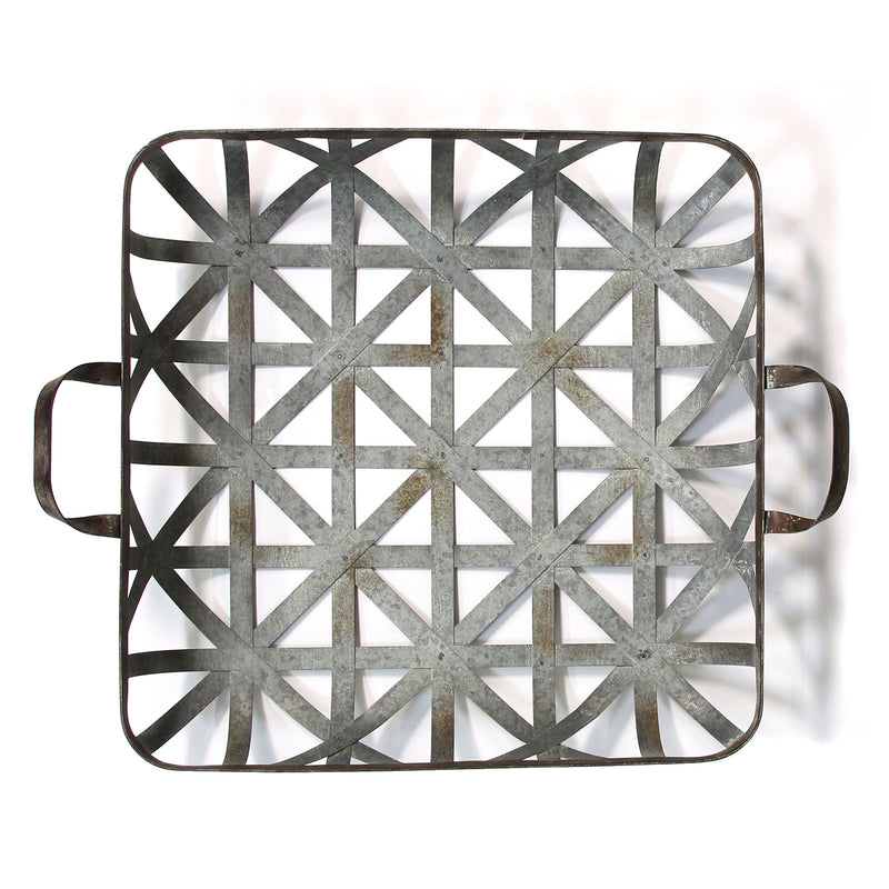Stratton Home Decor Basket Weave Metal Tray