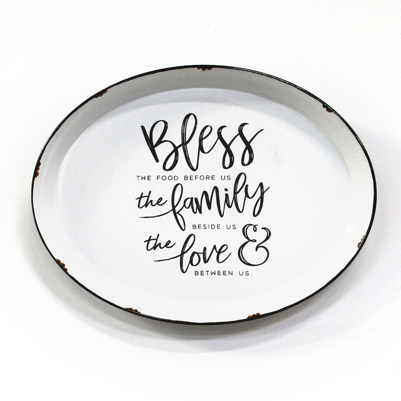 Stratton Home Decor Bless this Family Enamel Plate Wall Art