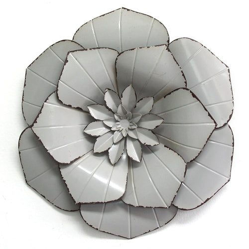 Stratton Home Decor Grey Metal Flower Wall Decor