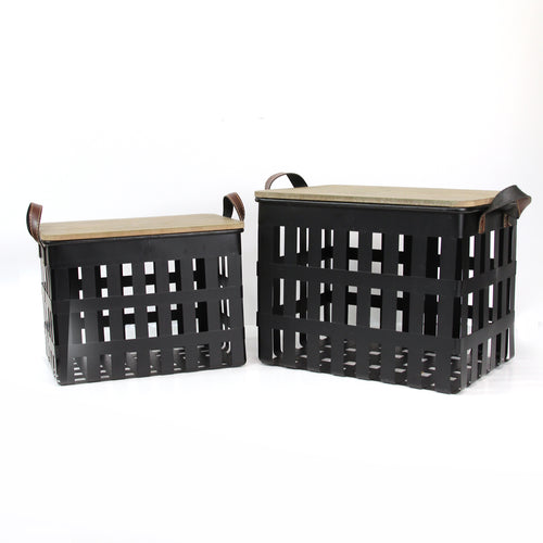 Stratton Home Decor Set of 2 Metal Storage Baskets with Wood Tops