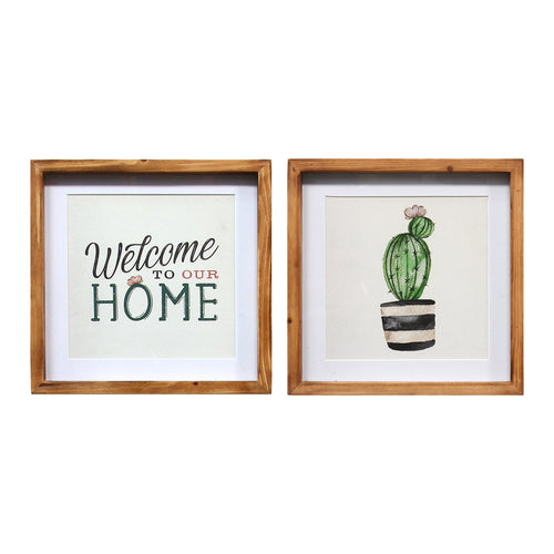 Stratton Home Decor Set of 2 Framed Cactus Wall Decor