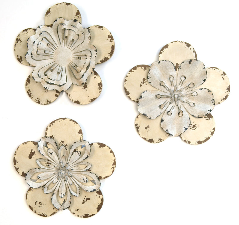 3 Piece Rustic Flowers Wall Décor