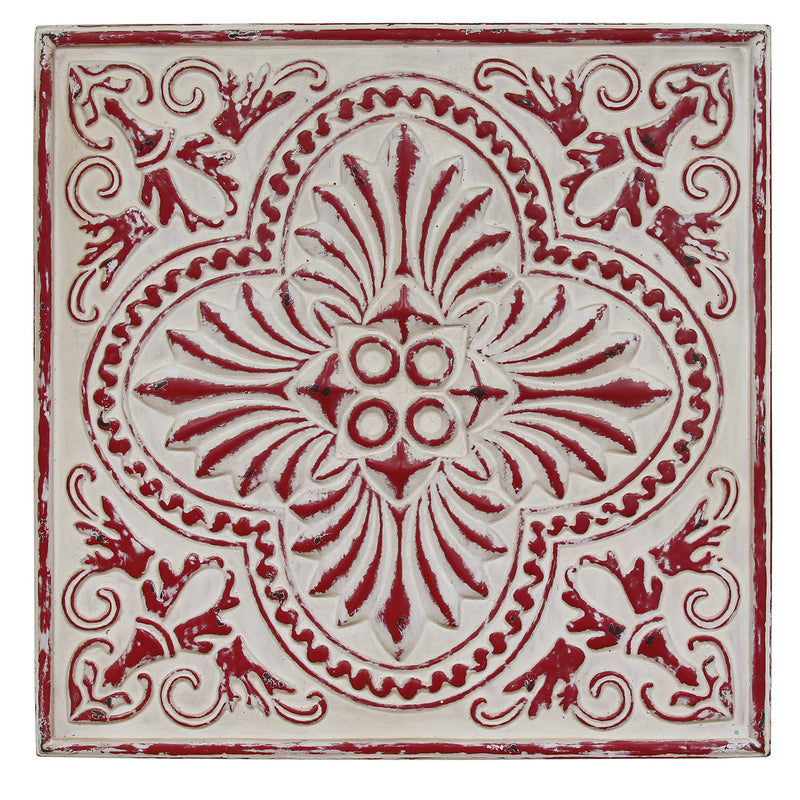 Distressed Square Medallion Wall Décor