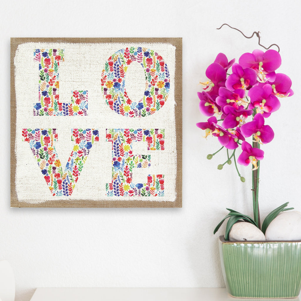 Love burlap wall art stratton home decor Home decoration with jute