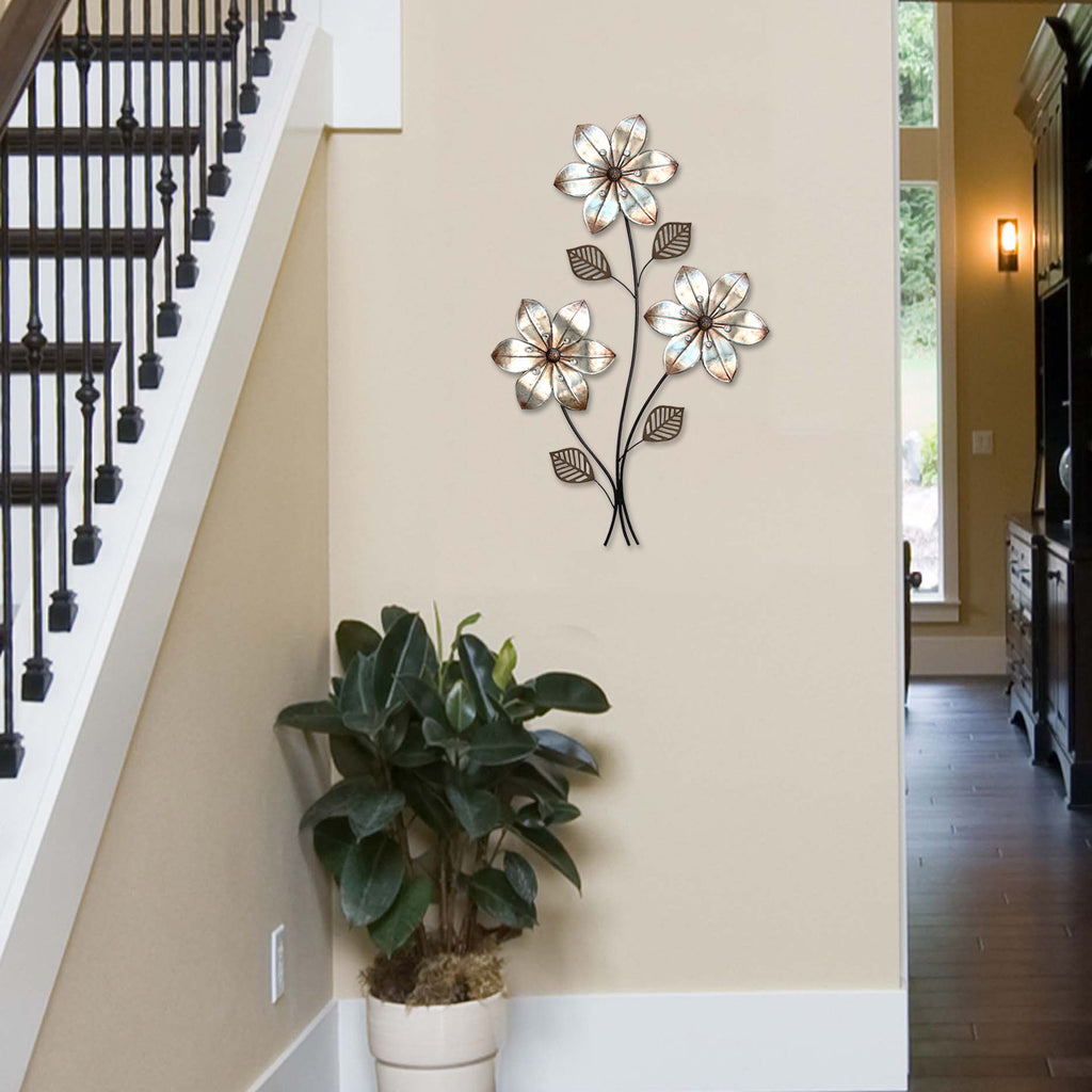 Stratton Home D Cor Eclectic 3 Stem Floral Wall D Cor