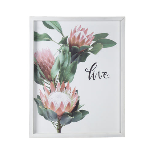 "Stratton Home Decor Framed ""Live"" Floral Wall Art"