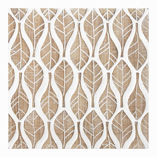 Stratton Home Decor Carved Leaf Pattern Wood Wall Decor