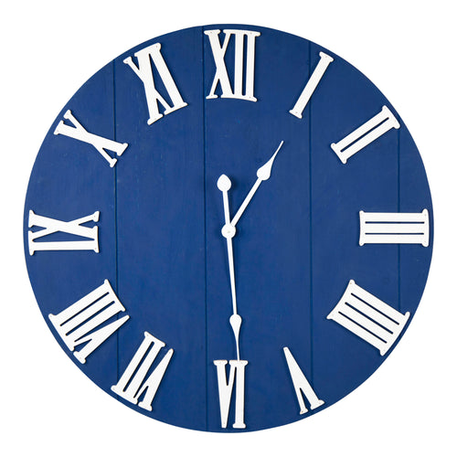 Stratton Home Decor William Blue Wood Wall Clock