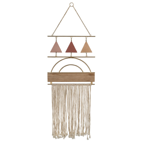 Stratton Home Decor Macrame with Metal Triangles Wall Decor