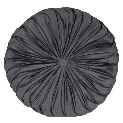 Stratton Home Decor Round Tufted Velvet Grey Pillow