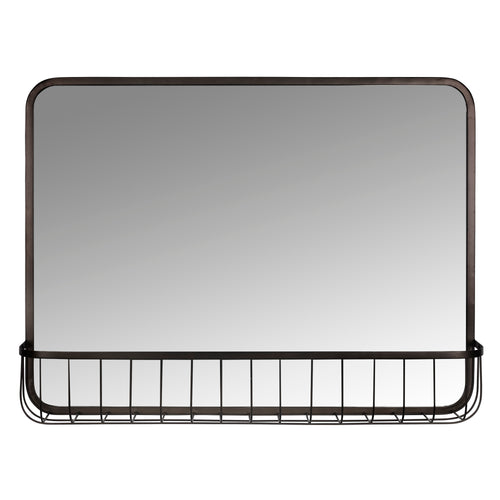 Stratton Home Decor Katie Metal Wall Mirror with Basket