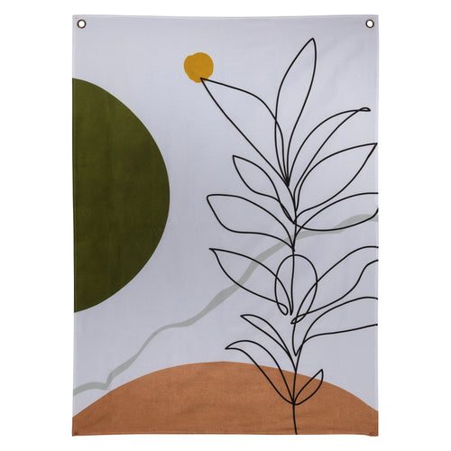 Stratton Home Decor Terracotta Minimal Line Art Wall Tapestry