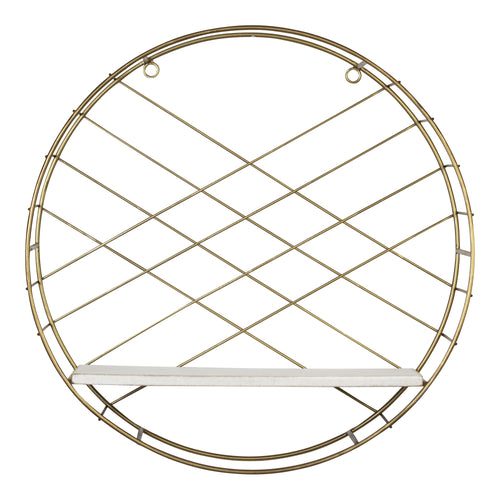 Stratton Home Decor White and Gold Round Wall Shelf
