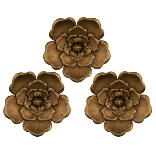 Stratton Home Decor Set of 3 Gold Metal Flowers Wall Decor
