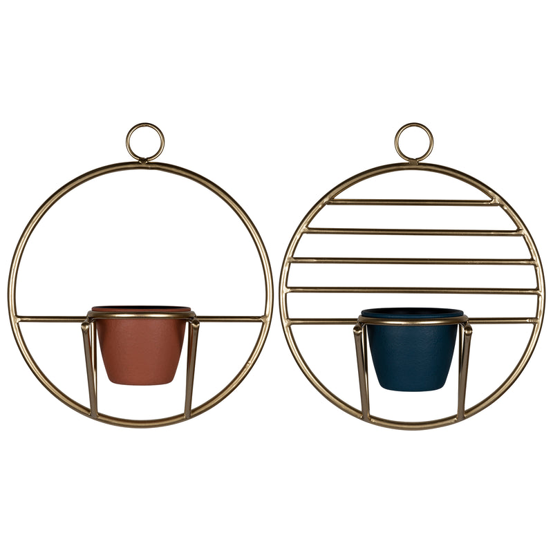 Stratton Home Decor Set of 2 Gold Geometric Wall Planters
