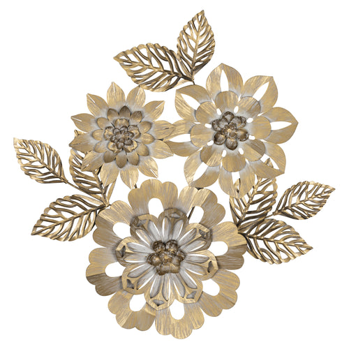 Stratton Home Decor Gold Blooming Metal Flower Wall Decor