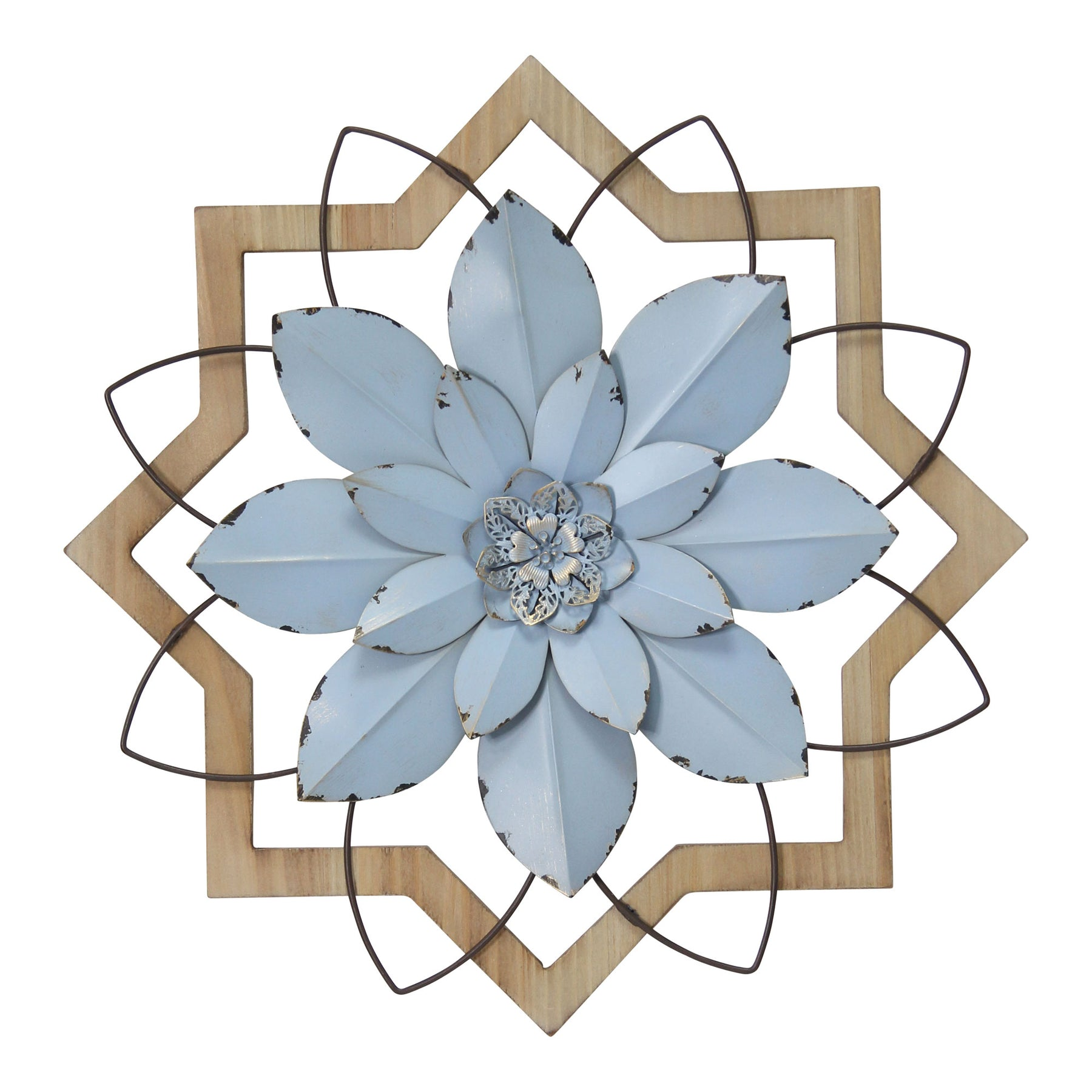 Stratton Home Decor Metal Blue Flower And Wood Frame