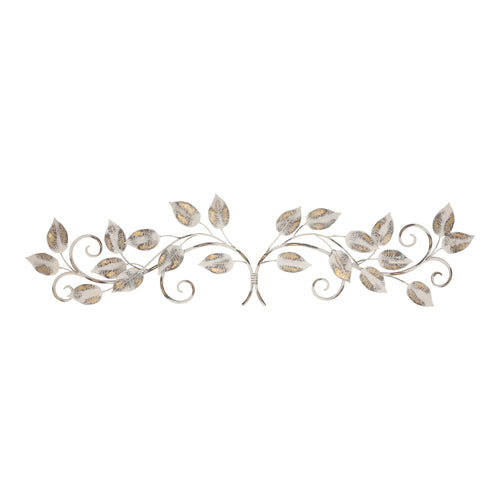 Stratton Home Decor White and Bronze Distressed Leaves Over the Door Wall Decor