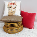 Stratton Home Decor Coral Textured Velvet 18 Inch Square Pillow