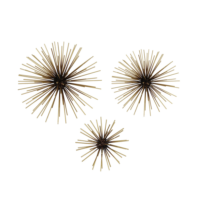 Stratton Home Decor Set of 3 Black and Gold Starburst Metal Wall Art