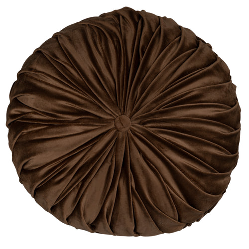 Stratton Home Decor Round Tufted Velvet Brown Pillow