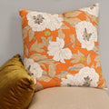 "Stratton Home Decor Vintage Orange Floral 18"" Square Pillow"