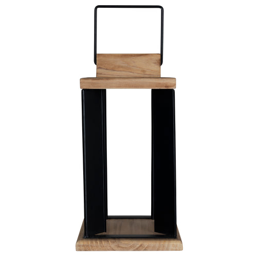 Stratton Home Decor Natural Wood and Black Metal Open Lantern