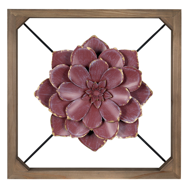 Stratton Home Decor Floating Maroon Flower Wall Decor