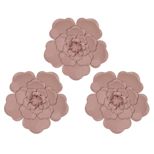 Stratton Home Decor Set of 3 Pink Metal Flowers Wall Decor