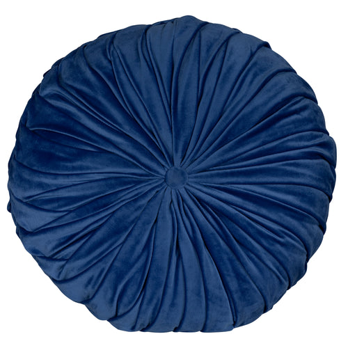 Stratton Home Decor Round Tufted Velvet Blue Pillow