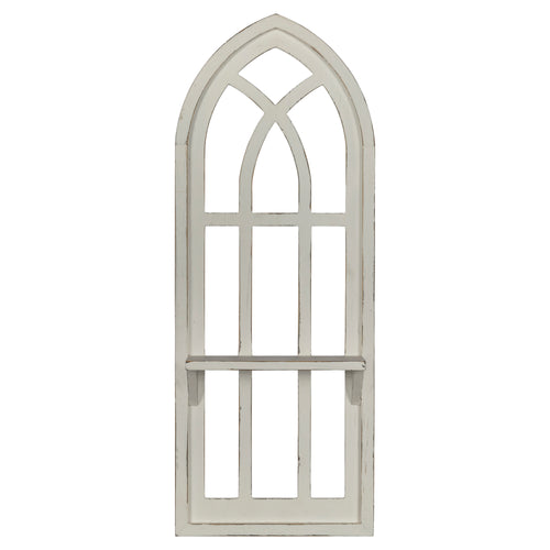 Stratton Home Decor Distressed Window Arch with Shelf Wall Decor