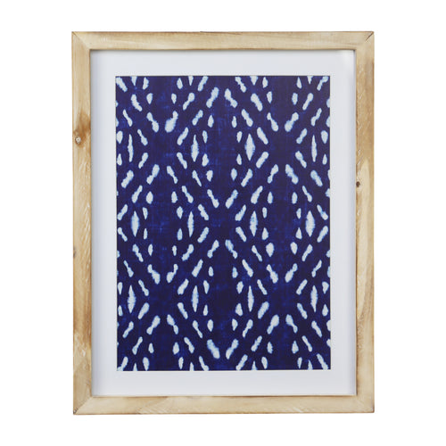 Stratton Home Decor Framed Blue Geometric Motif Wall Art with Glass