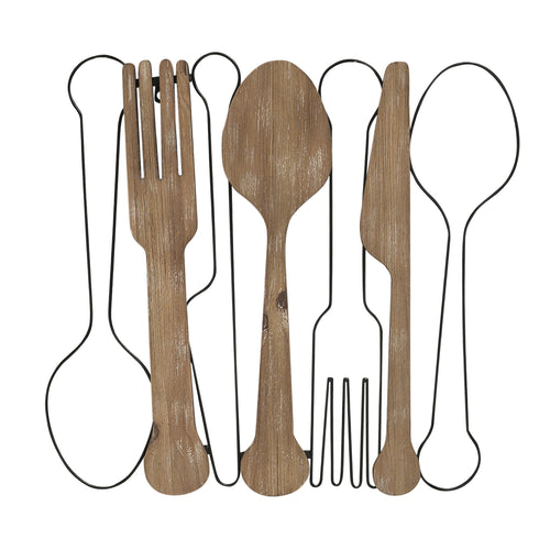 Stratton Home Decor Wood and Metal Kitchen Utensil Wall Decor