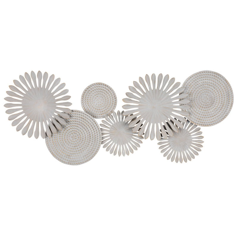 Stratton Home Decor White Burst and Textured Plates Wall Decor