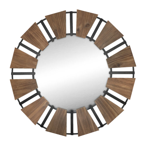 Stratton Home Decor Charlotte Natural Wood and Metal Wall Mirror