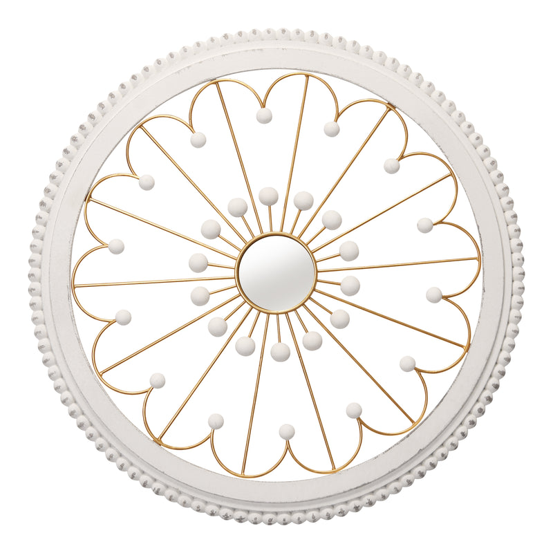 Stratton Home Decor White and Gold Medallion with Mirror Wall Decor