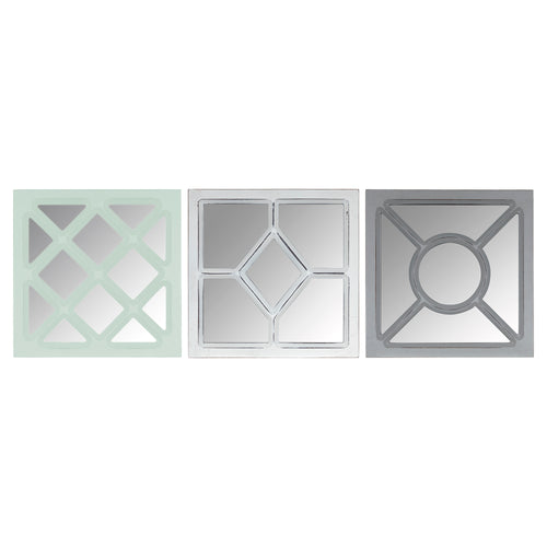 Stratton Home Decor Set of 3 Tri-color Square Wall Mirrors