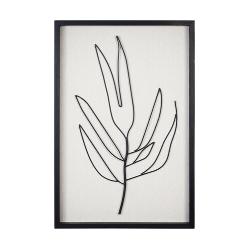 Stratton Home Decor Serene I Metal and Wood Frame Leaf Wall Art