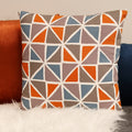 "Stratton Home Decor Orange and Blue Geometric  18"" Square Pillow"