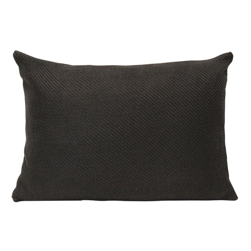 Stratton Home Decor Black Ribbed Lumbar Pillow