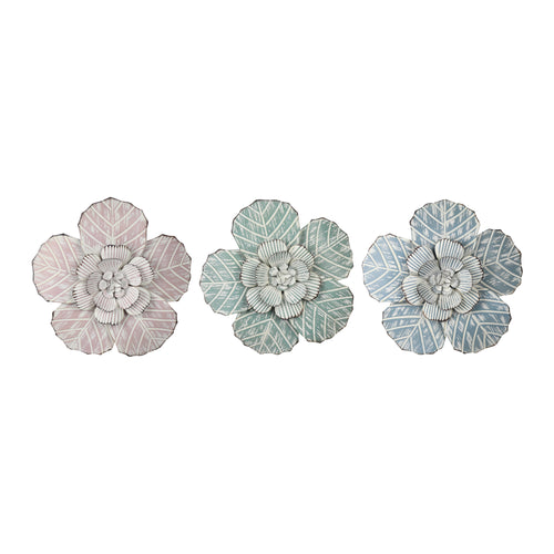 Stratton Home Decor Set of 3 Charming Flowers Metal Wall Decor
