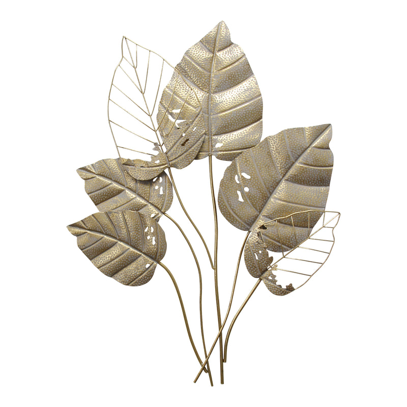 Stratton Home Decor Metal Gold Leaves Wall Decor