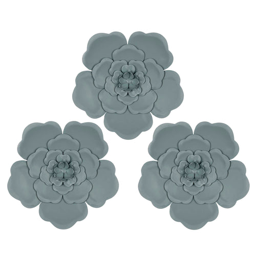Stratton Home Decor Set of 3 Distressed Light Blue Flowers Wall Decor