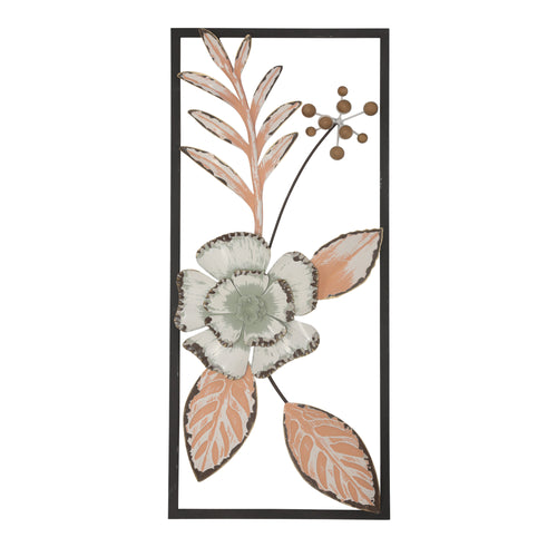 Stratton Home Decor Peach Tropical Flower Panel Wall Decor