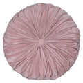 Stratton Home Decor Round Tufted Velvet Light Pink Pillow