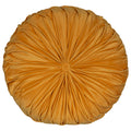 Stratton Home Decor Round Tufted Velvet Dark Yellow Pillow