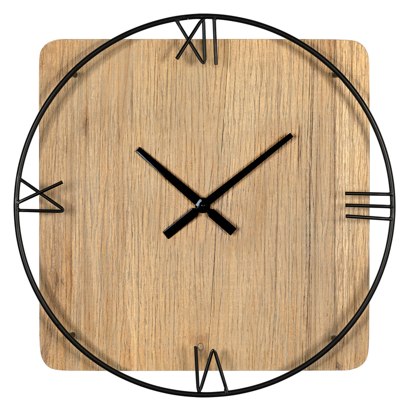 Stratton Home Decor Arthur Natural Wood and Metal Wall Clock