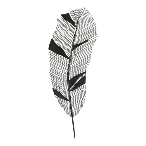 Stratton Home Decor Black Metal Feather Wall Decor