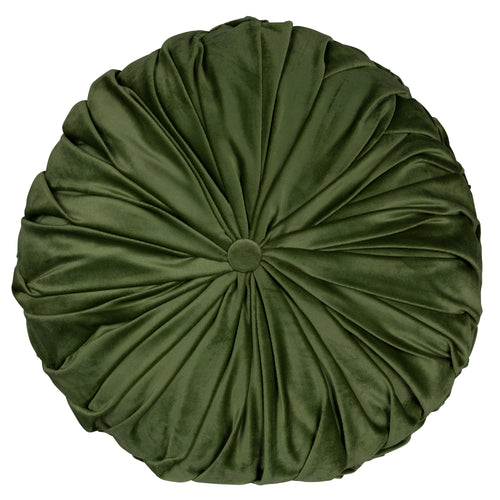 Stratton Home Decor Round Tufted Velvet Green Pillow