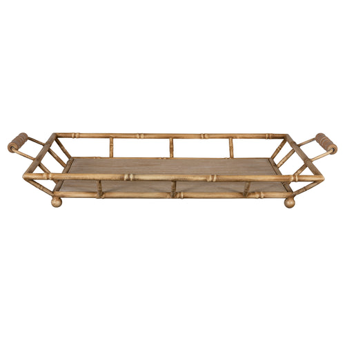 Stratton Home Decor Metal and Wood Bamboo Tray